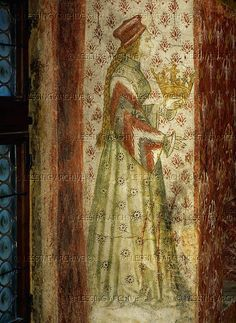"""Margarete Maultasch (""""Satchel-mouth""""),Countess of Tyrol (1318-1369),in a mural in a window embrasure of the """"bath-chamber"""" in Runkelstein castle,South-Tyrol,Italy. The countess,ruler of Tyrol,is shown three times in the Runkelstein murals in scenes of courtlife and hunting. Runkelstein castle, Bolzano(Bozen), Italy"""