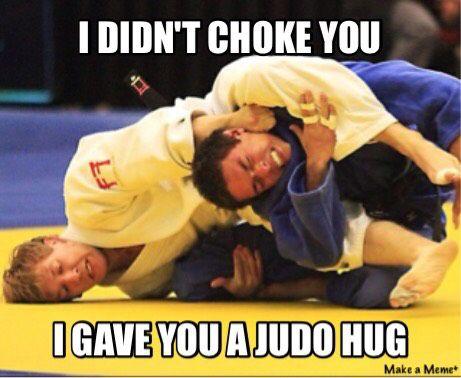 Judo funny meme choke hug