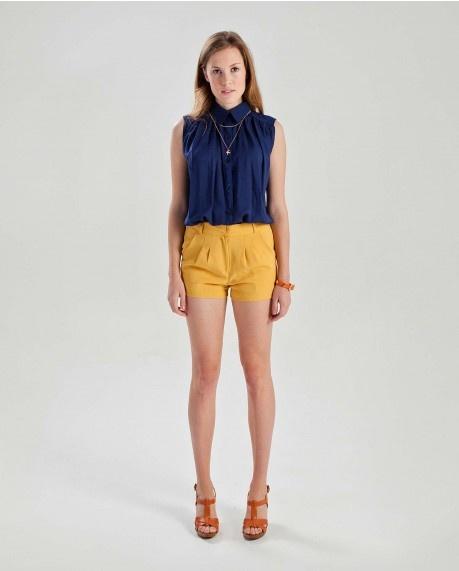 Navy loose fit sleeveless shirt $51.00