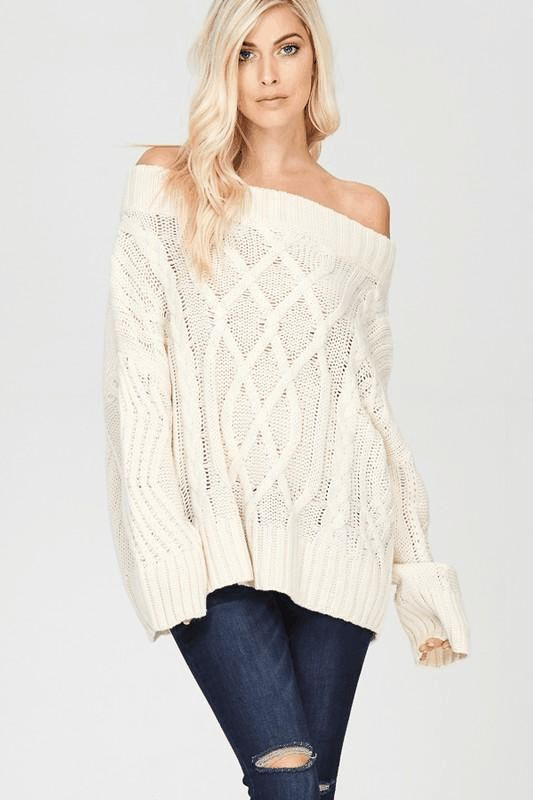 Cali Cool Off Shoulder Sweater $ 53.00