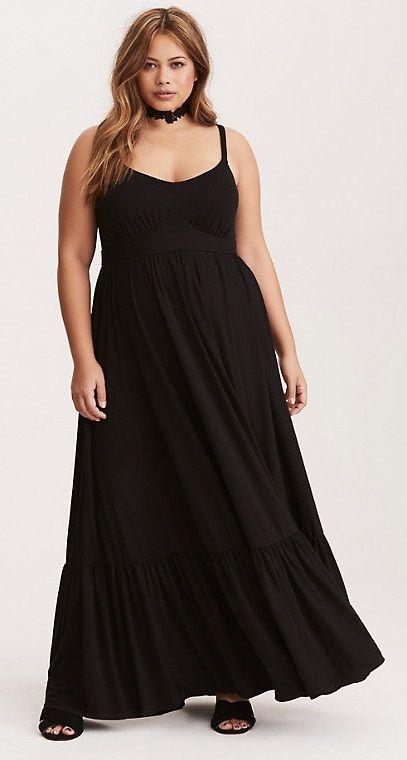 Plus Size Tiered Jersey Maxi Dress
