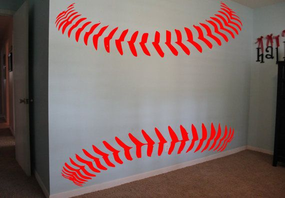 Hey, I found this really awesome Etsy listing at https://www.etsy.com/listing/203959306/baseball-softball-laces-wall-decal