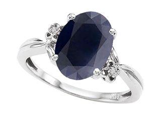 Tommaso Design™ Oval 10x8mm Genuine Black Sapphire Ring