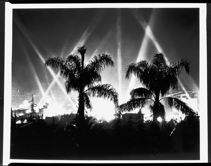 Hollywood at night, 1930. KLEIG LIGHTS! Check out Brigette's review of Jack Kerouac's On The Road here: http://chaptersandscenes.wordpress.com/2014/03/17/brigette-reviews-on-the-road/