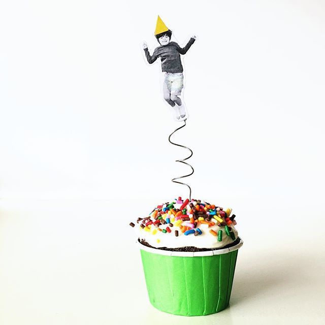 Trampoline party cupcake topper, bounce house cupcake topper, jump cupcake topper