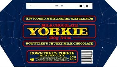 Old Yorkie Chocolate Bar Wrapper from the 80s