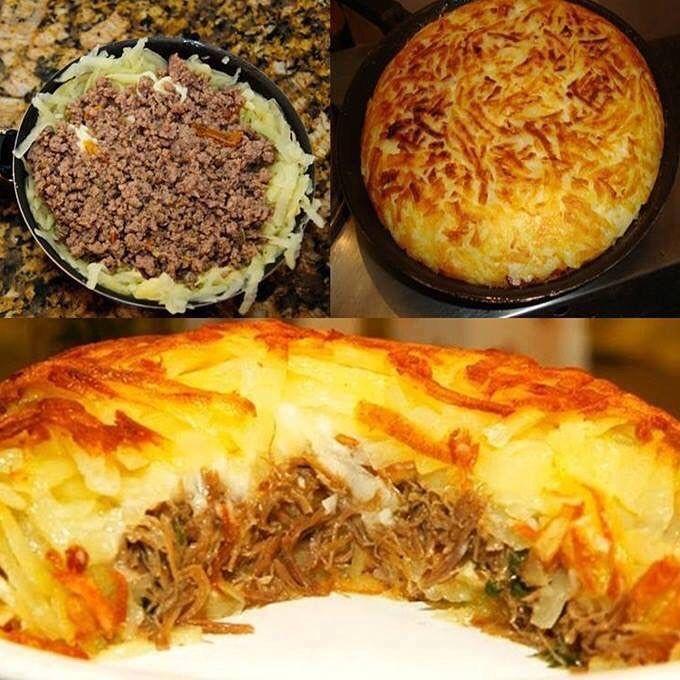 """5,733 curtidas, 61 comentários - Manual Da Cozinha (@manualdacozinha) no Instagram: """"Batata Suíça de frigideira❤ . Ingredientes 4 batatas grandes 1 bisnaga de queijo cheddar – se…"""""""