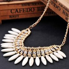 Statement Necklace 2016 New Women Fashion Retro Lovely Style Turquoise Crystal Exquisite Tassel Choker Necklace Collier Femme(China (Mainland))
