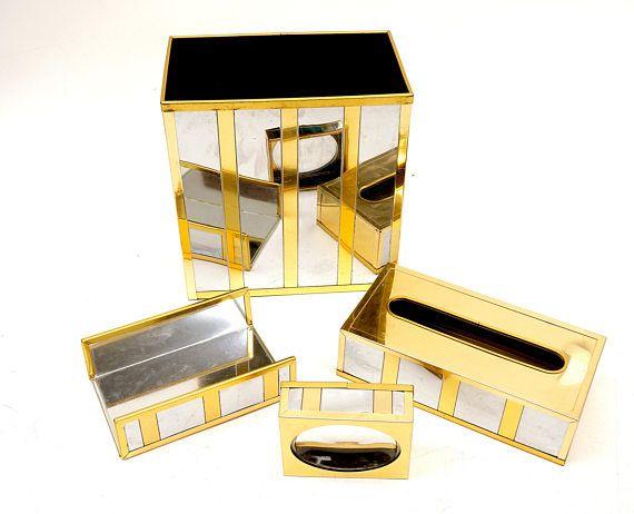 1970 39 s designer gold silver bathroom accessories set v for Gold and silver bathroom accessories