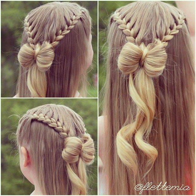 """More photos of yesterday's style: French braids into lace braids into a hair bow.  Flere bilder av gårsdagens frisyre: franske fletter, halvt franske fletter og sløyfe av hår. "" Photo taken by @flettemia on Instagram, pinned via the InstaPin iOS App! http://www.instapinapp.com (05/31/2015)"