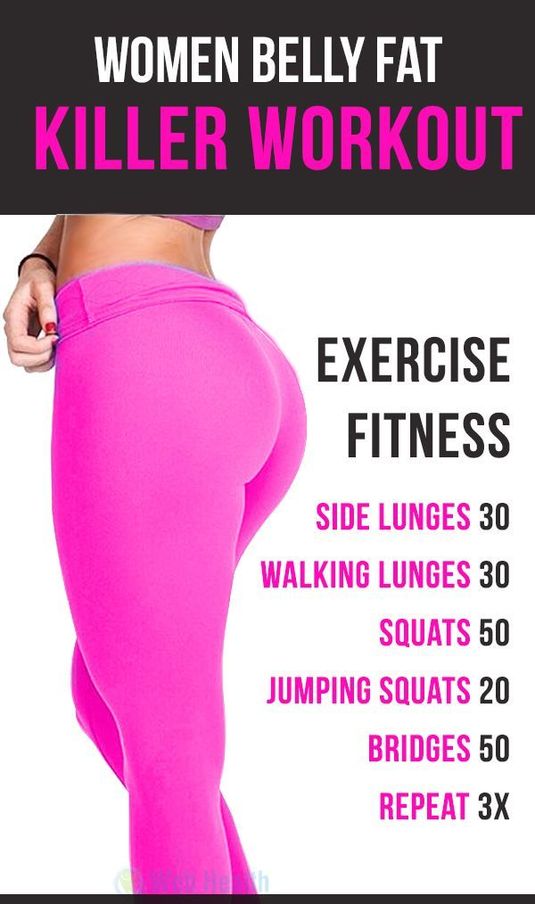 Top 6 fitness exercise for Women belly fat killer. #fitness #exercise #abs #slim #fit #beauty #health #workout #motivation #cardio #belly #woman-fitness #ab-workouts #ab-inspiration