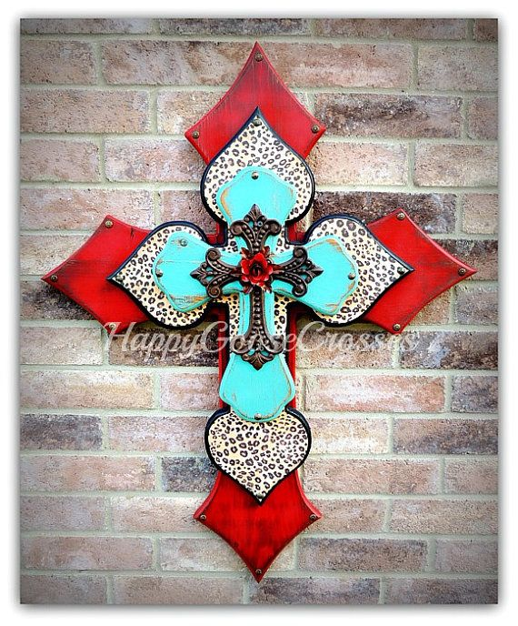 X-Large Wall CROSS  Antiqued Red & Turquoise with by happygoose