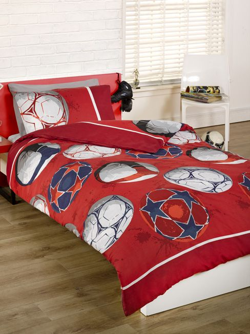 Red Football Single Duvet Cover And Pillowcase Set The Perfect For Fans