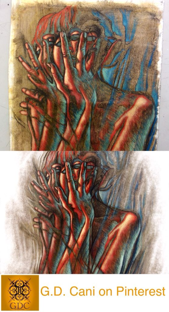 "G. Dalli Cani - 2014 - trial of ""Lazertran"". The piece was hand painted (top) and then digitally rendered (bottom). Lazertran is a computer printing paper that allows to transfer any image on a support. In this case I have layered the image onto ceramic support. Polymer Mat Sealant."