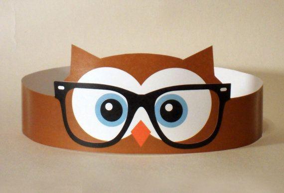 Hipster Owl Paper Crown  Printable van PutACrownOnIt op Etsy, $2.00