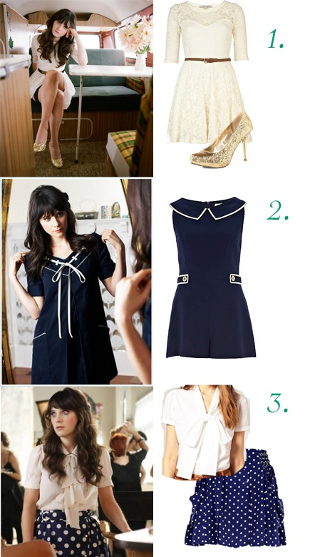 Zooey Deschanel Style Idol - She's my girl crush too, but the thing I most love about her is her style and her characters. She always manages to bring a part of herself into these characters whether it is her mannerisms or her style. These are all on my wish list!