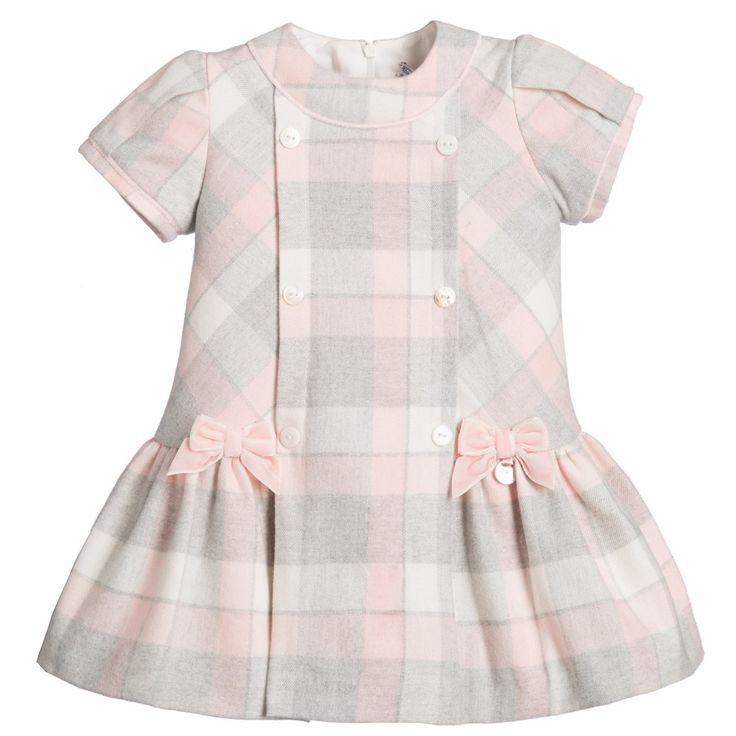 Mayoral Baby Girls Pink & Grey Checked Cotton Dress at Childrensalon.com