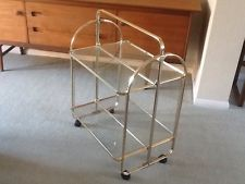 Glass Gold Tone Metal Drinks/Tea Trolley (Collapsible ) With Wheels