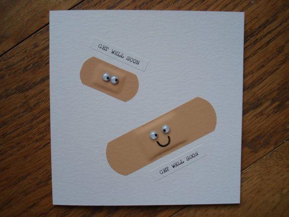 Handmade Get Well Soon Plaster Card, Mum, Dad, Sister, Husband, Friend........ £2.00, via Etsy.