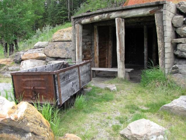 Abandoned Coal Mine # 2 shaft entrance in Canmore, Alberta, Canada.