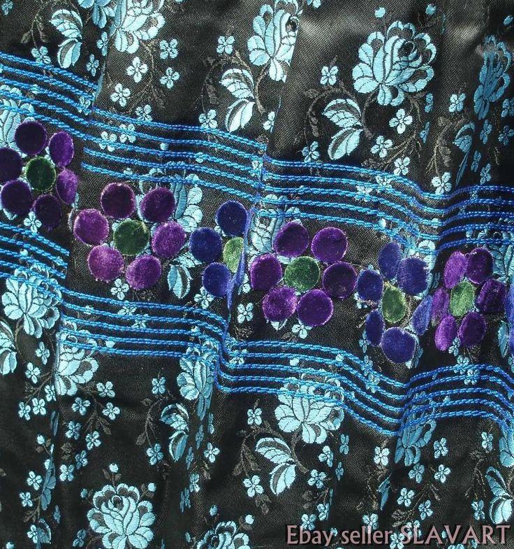 SLOVAK FOLK COSTUME embroidered jacket brocade skirt apron ethnic Tekov kroj ART