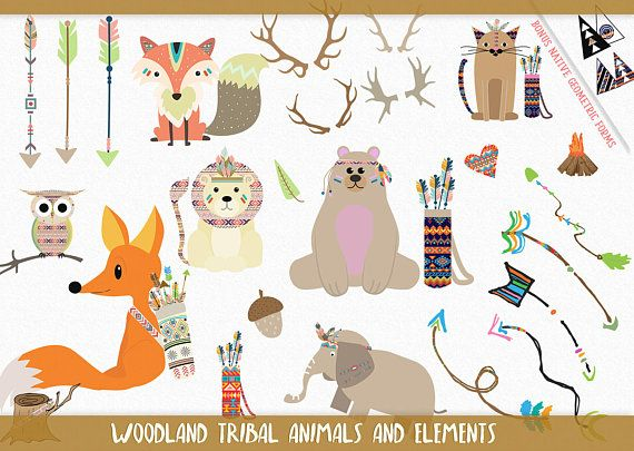 Tribal Clipart, Vector Clipart, Woodland Nursery, Clipart Animals, Boho, American Indian, Forest Animals, Jungle Animals, Tribal Arrows