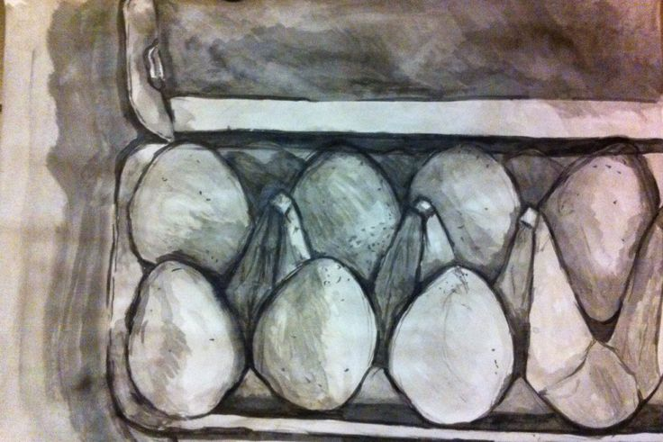 Eggs in carton Acrylic ink drawing/painting by Gaylene Allam 26/7/16 self directed