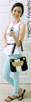1st Day of Spring OOTD - Peplum Top with Mint Jeans Steve Madden Purse and Shoes