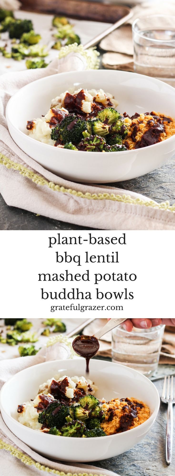 (ad) Refuel after a tough workout with nourishing and protein-rich plant-based BBQ Lentil Mashed Potato Bowls with zesty balsamic barbecue sauce. via @gratefulgrazer