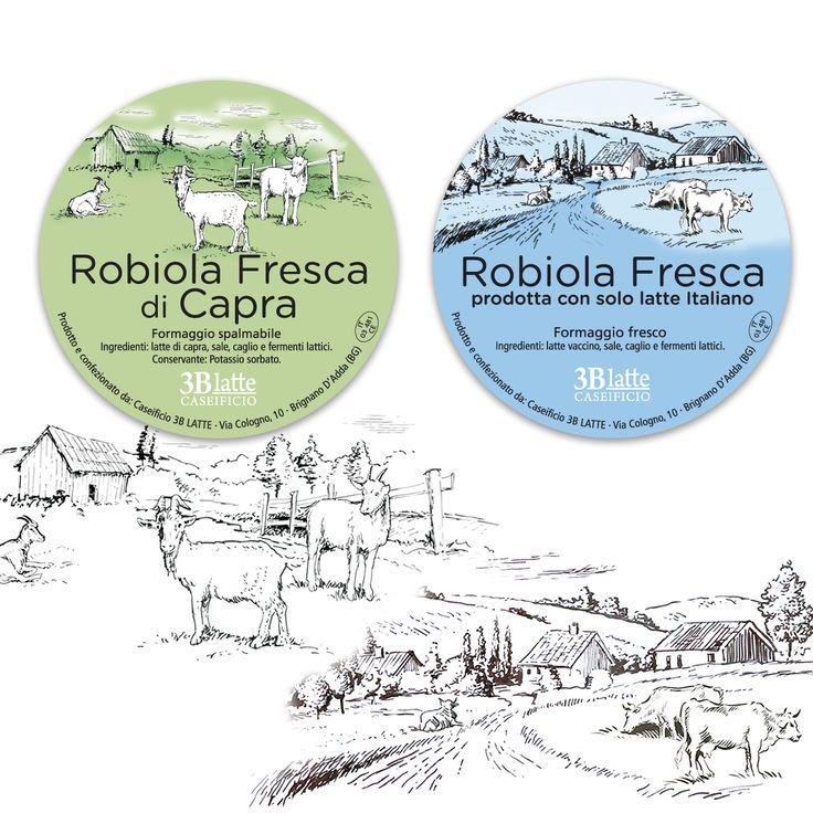 Etichette #packaging #3bLatte per #Robiola fresca di capra e #Robiola fresca di latte vaccino