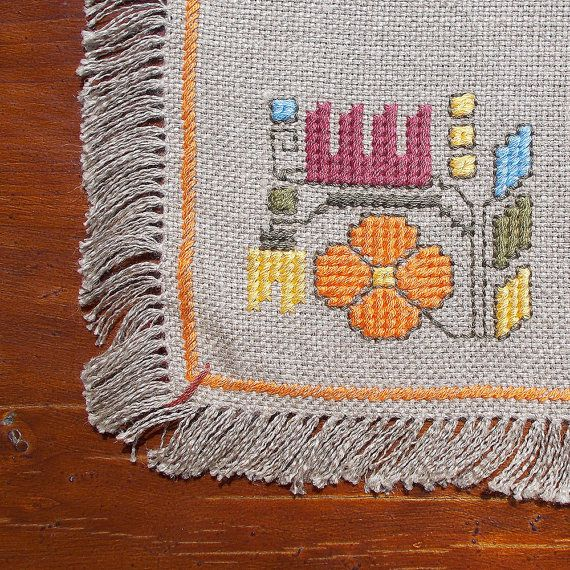 Hand embroidered table cloth cross-stitch table cloth by RugsNBags