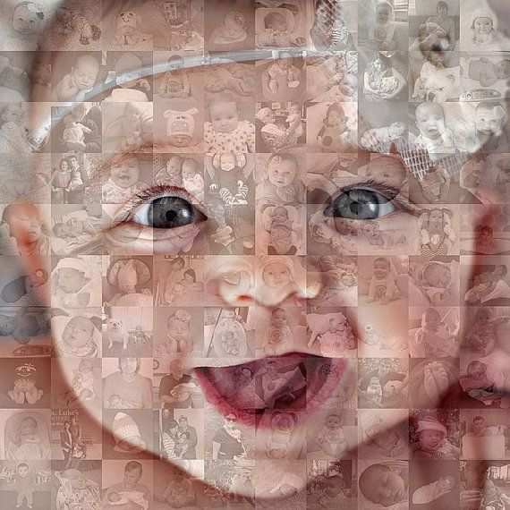 16x16 Inch Custom Personalized Photo Mosaic Collage Print - Unique One-of-a-Kind Wall Art on Etsy, $240.00