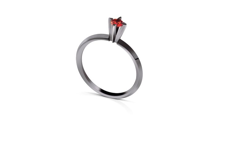 18K White Gold Ring with Black Rhodium and Red Sapphire.