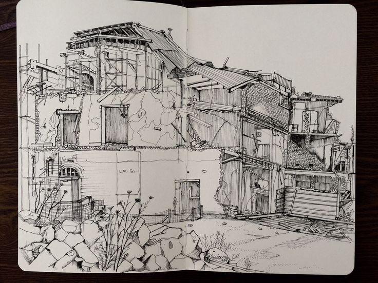 Damaged buildings in Central Christchurch - Mckenzie & Willis Furniture old store. #moleskine #kinfineart