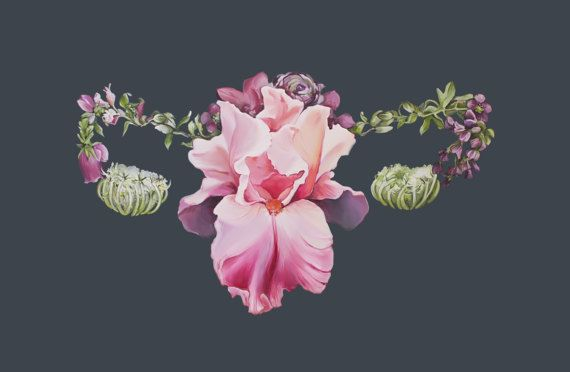 Floral Gebärmutter weibliche Anatomie Print von Öl-Malerei