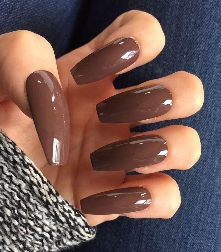 Set of 20 Handmade Long Chocolate Brown Neutral Ballerina Coffin Nails  | eBay