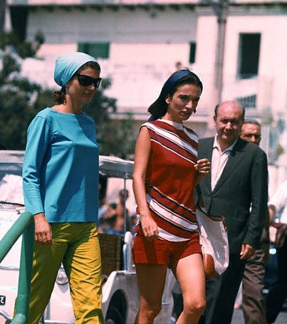Jackie Kennedy & Lee Radziwill at the pier of Amalfi, en route to Conca dei Marini beach via motorboat, 1962