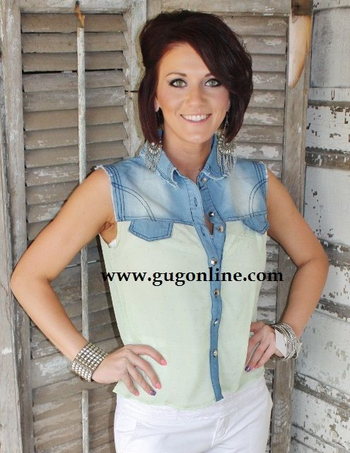 GIDDY UP GLAMOUR  www.gugonline.com  $22.95  You Make Everything Beautiful Denim and Lime Top