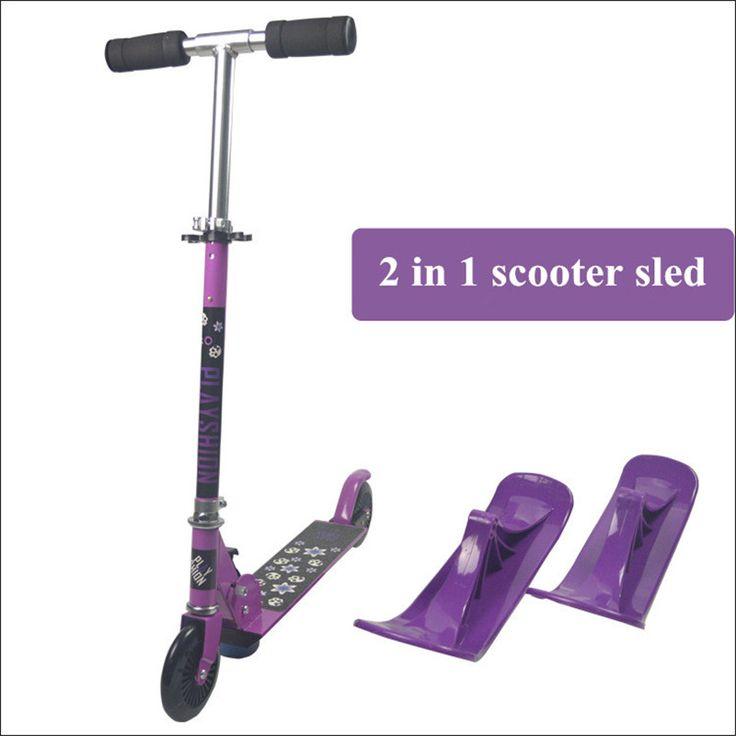 2 In 1 multifunctionele Slee Scooter Voor Kinderen Vouwen Schaatsen Board Sneeuw scooter kind slee trineos XQ02