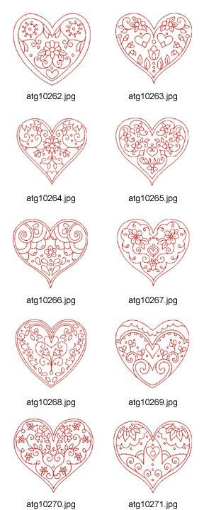 heart-shaped . . . designs for embellishment . . . embroidery, paint pen, glitter . . .