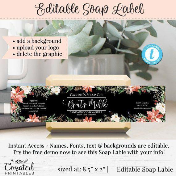 Soap Label, Editable Label, Bath Product Label, DIY