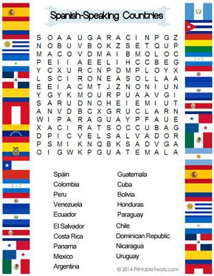 Spanish Speaking Countries Word Search Fles Teaching