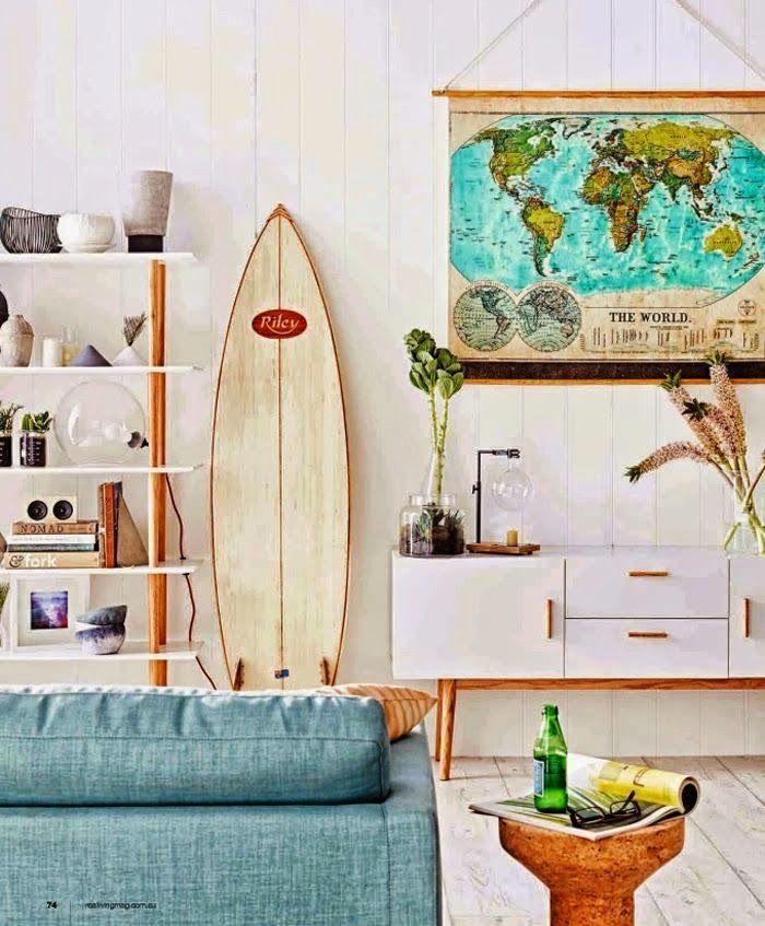 Surf Inspired Home Decor  Retro home decor, Coastal living rooms