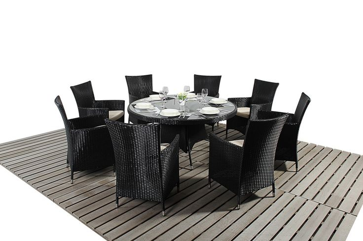 http://www.bonsoni.com/bonsoni-round-dining-set-8-piece-colour-black-includes-a-large-glassed-top-circular-table-eight-chairs-and-a-parasol-rattan-garden-furniture-1  Sets are finished with light natural beige cushions and brushed aluminium effect feet.  http://www.bonsoni.com/bonsoni-round-dining-set-8-piece-colour-black-includes-a-large-glassed-top-circular-table-eight-chairs-and-a-parasol-rattan-garden-furniture-1
