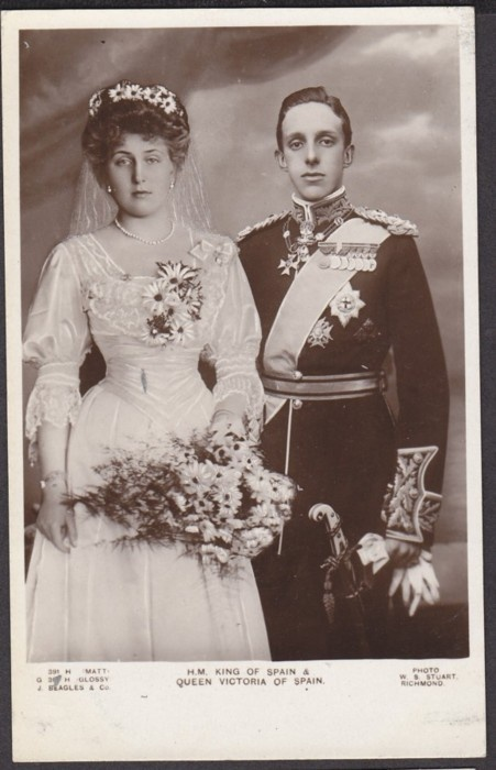 Pss Victoria Eugenia Battenberg (as a brides maid) with King Alfonso XIII of Spain