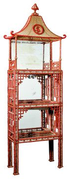 French Chinoiserie Crystal and Glass Mirrored Vitrine - asian - bookcases cabinets and computer armoires - 1stdibs