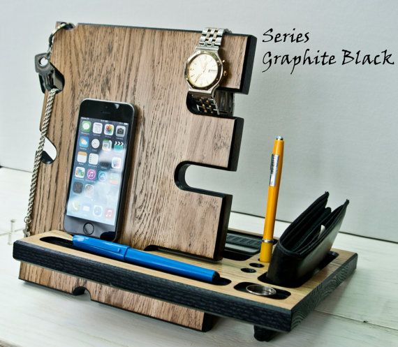 Docking Station,Mens Office Decor.Charging Station ipad,key holder wood,jewelry…                                                                                                                                                                                 Más
