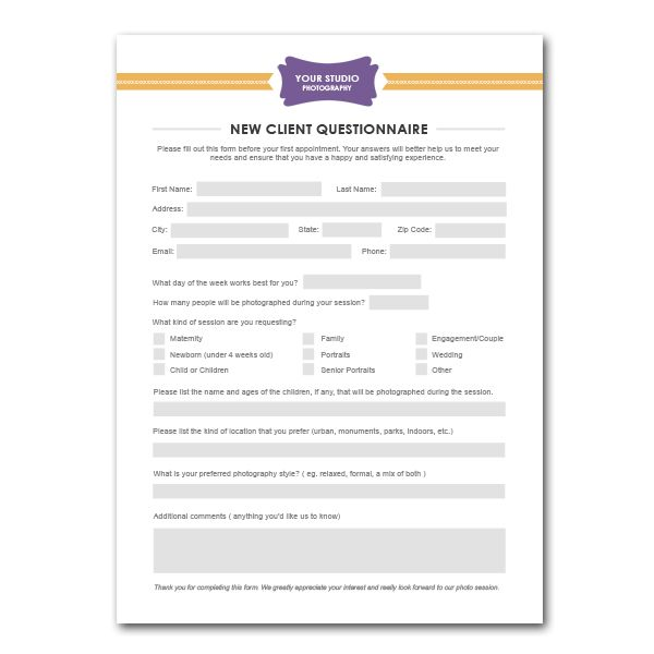 New client questionnaire form template for photographers for Office design questionnaire