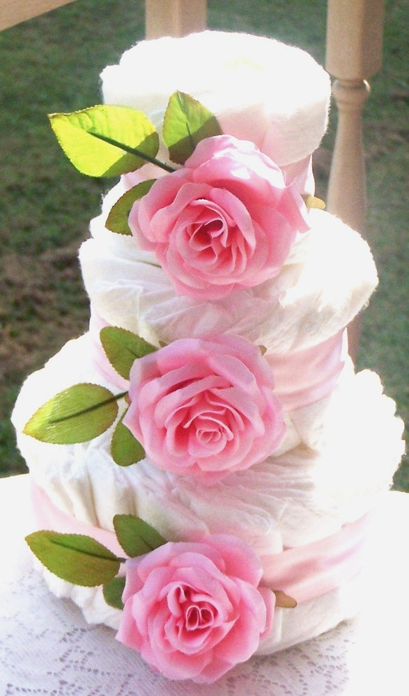 Pink roses diaper cake shower centerpiece baby gift for Pink diaper bouquet