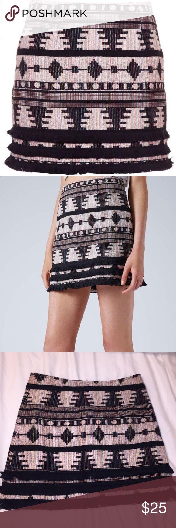 NWT Topshop skirt! Brand new Aztec print with black fringe detail Topshop Skirts Mini